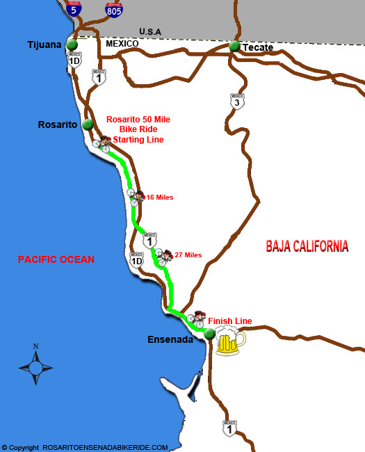 Rosarito Ensenada Bike Ride Course Map